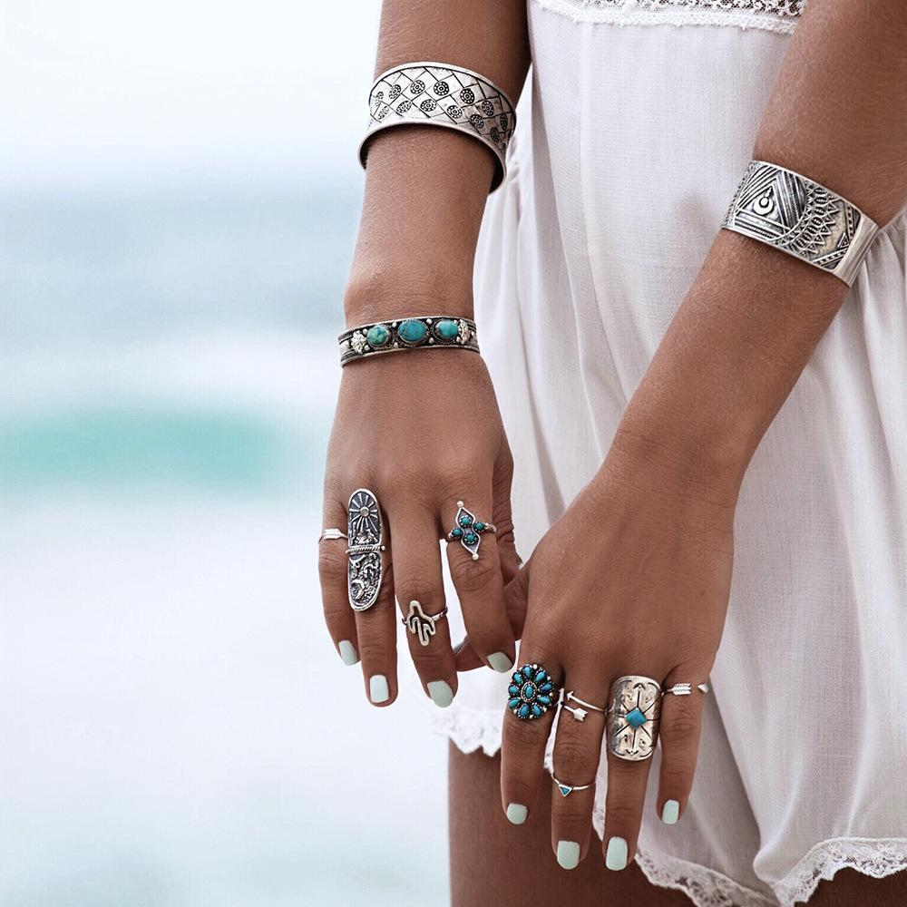 Jewelry-Silver 9 Piece Boho Ring Set