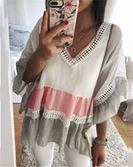 New V-Neck Loose Trumpet Sleeve Stitching Lace Shirt