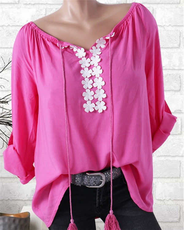 Casual Solid Blouse Women Tops