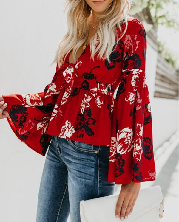 Women V-neck Trumpet Sleeve Printed Chiffon Blouses Tops