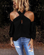 Women Fashion Blouse Halter Solid Color Shirt Casual Off Shoulder Plus Size Blouse