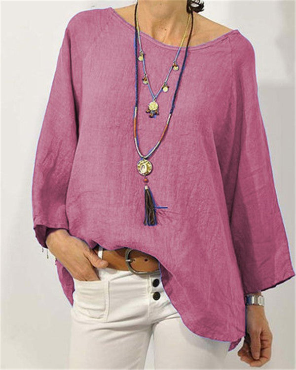 Crew Neck Solid Blouse Casual Tops