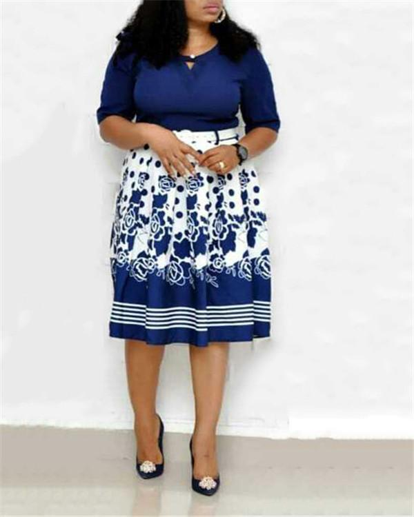 Women Plus Size Floral Print Dress With Belt