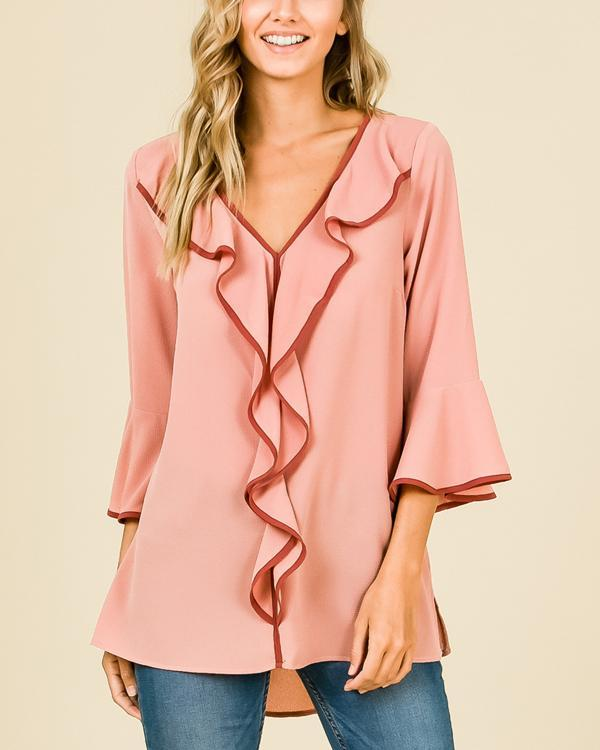 Fashion Trumpet Sleeve Solid Color Loose Chiffon T-Shirt Top