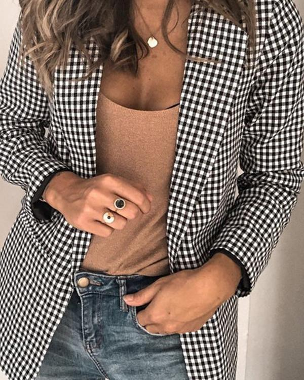 Grid Shift Casual Lapel Outerwear