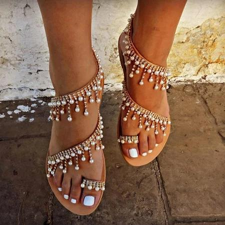 90a982f77 Women Bohemian Style Sandals Casual Beach Pearls Shoes