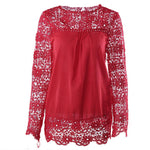 Chiffon Long Sleeve Solid Crew Neck Lace Blouse