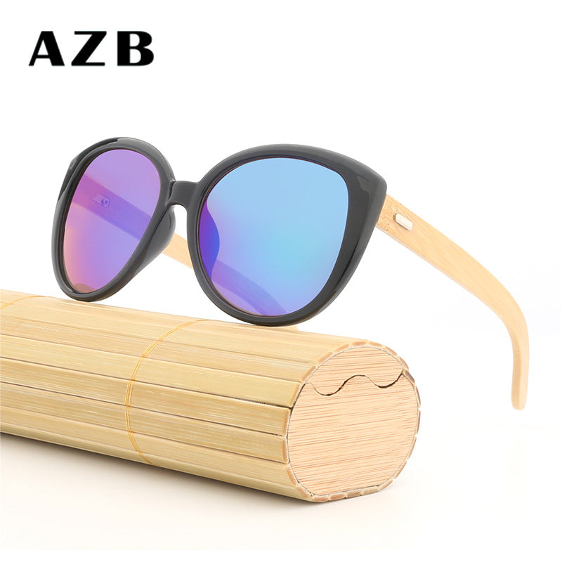 Fashion Wild Unisex Bamboo Frame Sun Glasses