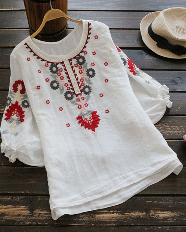 Half Sleeve Casual Crew Neck Vintage Blouses