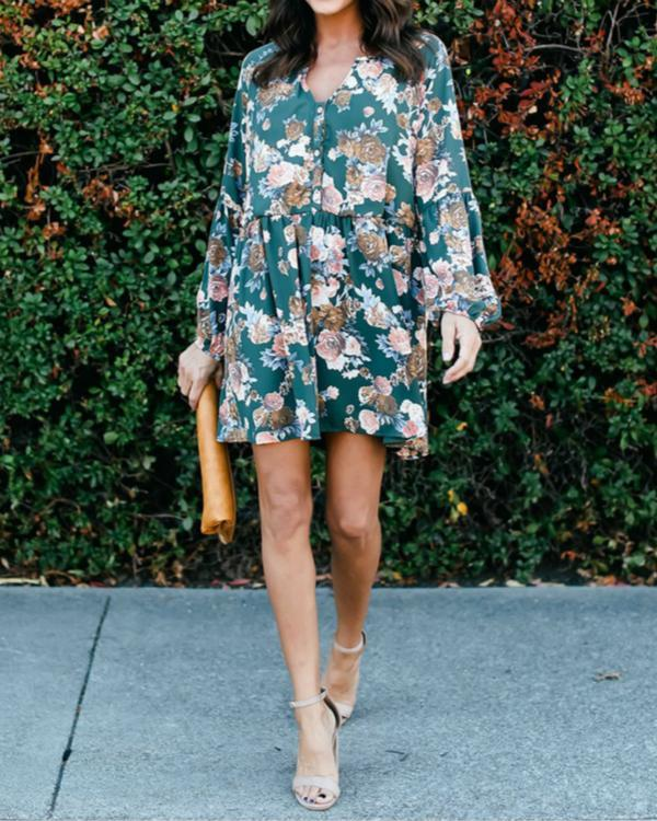 Women Floral Print Button V Neck Long Sleeve Plus Size Dress