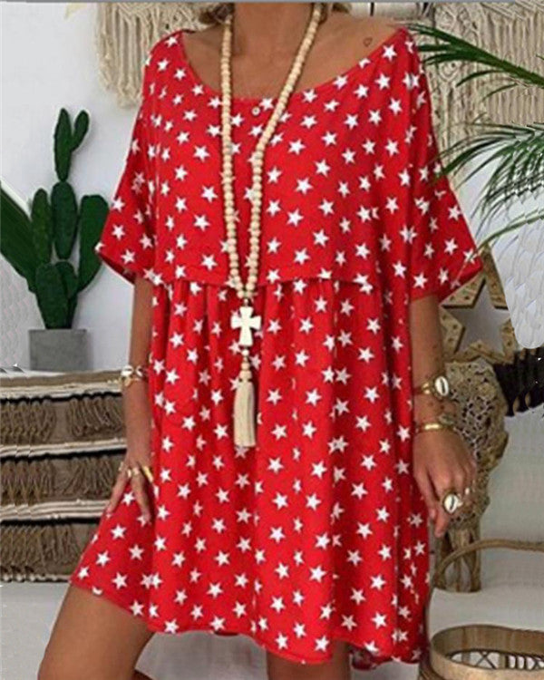 Scoop Neck Short Sleeve Star Printed Casual Dresses