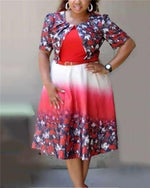 Women Mesh Pearl Plus Size Floral Print Dress With Belt