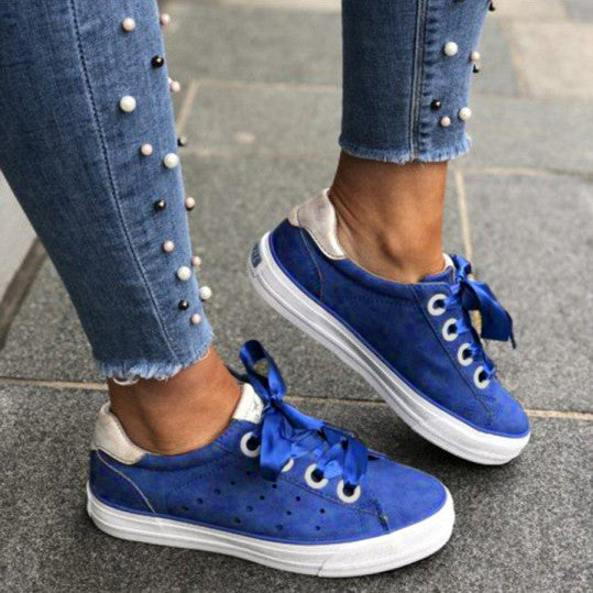 Plain Round Toe Date Travel Sneakers