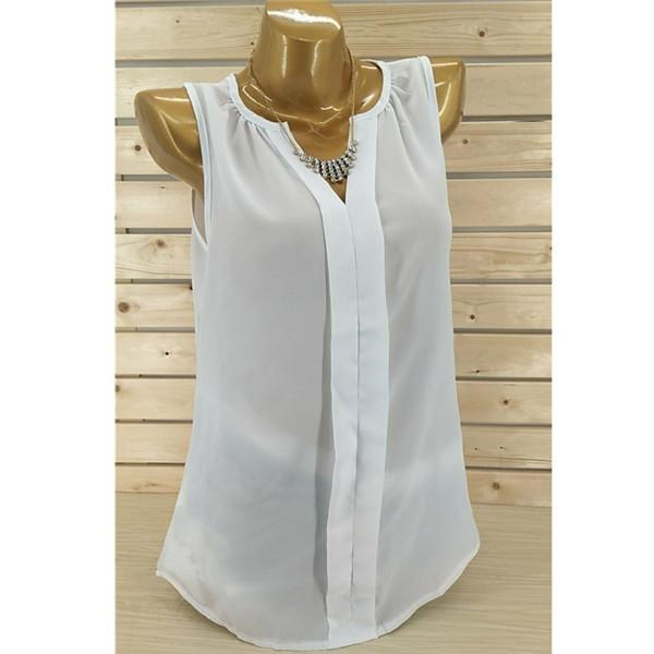 Irregular Sleeveless Solid Color Blouse Chiffon Vest Top