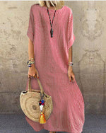 Fashion Striped Round Neck Holiday Casual Half Sleeve Dress