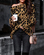 Sexy Off Shoulder Leopard Long Sleeve Sweater