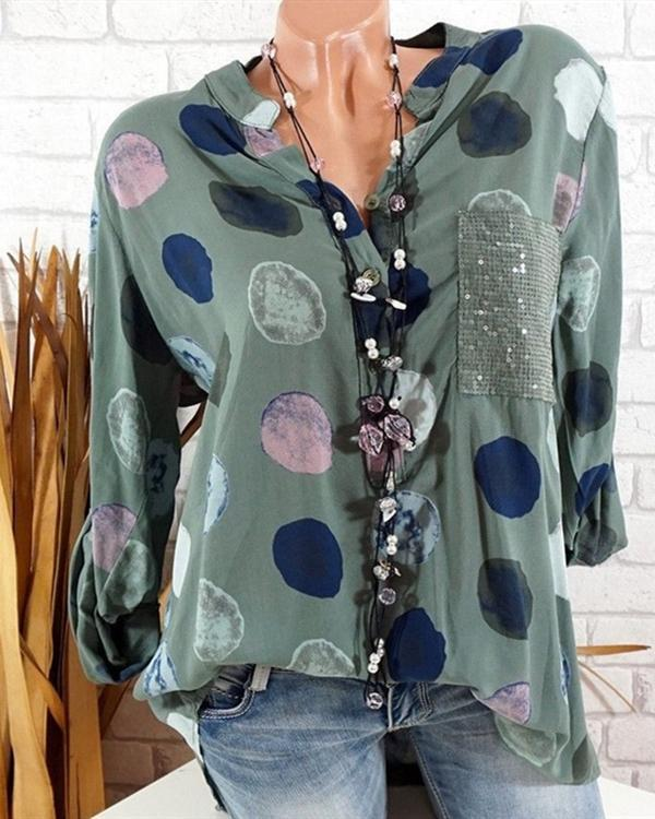 Women Casual Polka Dot With Pockets Plus Size Blouses Tops