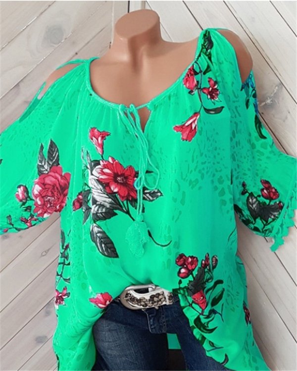 Loose Fitting Floral Printed Blouses