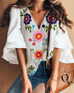 Bell Sleeve Floral Printed V Neck Sweet Blouses Tops