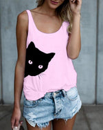 Women Cat Printed Crew Neck Sleeveless Tanks Tops