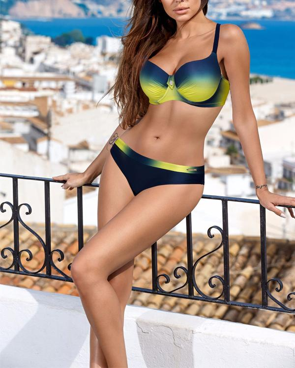 Sexy Colorful Stripe Print Swimwear Women Bikini Set
