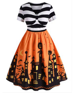 Vintage Halloween Printed Dress In Plus Sizes