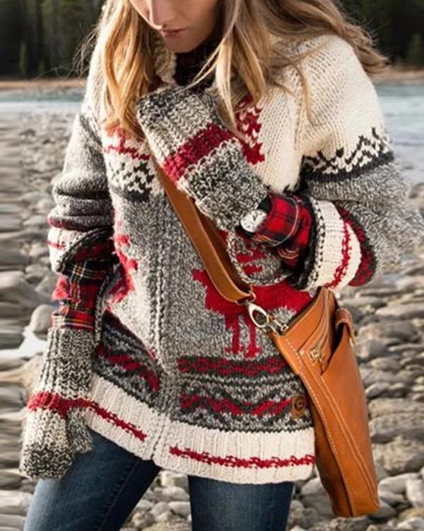 Casual Print Knit Sweater Cardigan