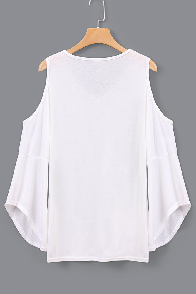 V-neck Cold Shoulder Flared Sleeves Tshirts