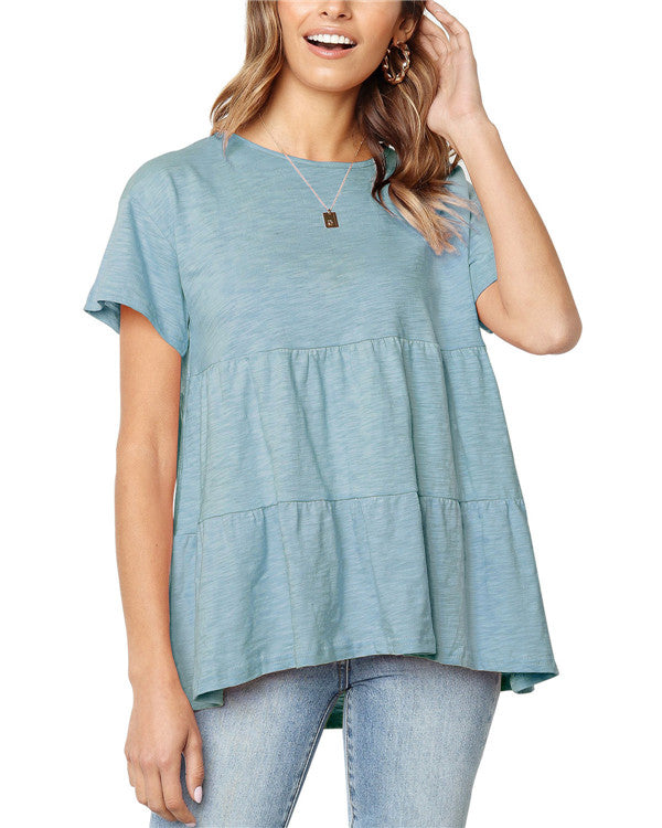 Women Pure Color Short Sleeve Crew Neck Blouse