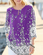 Plus Size Women Printed Holiday Daily Blouse
