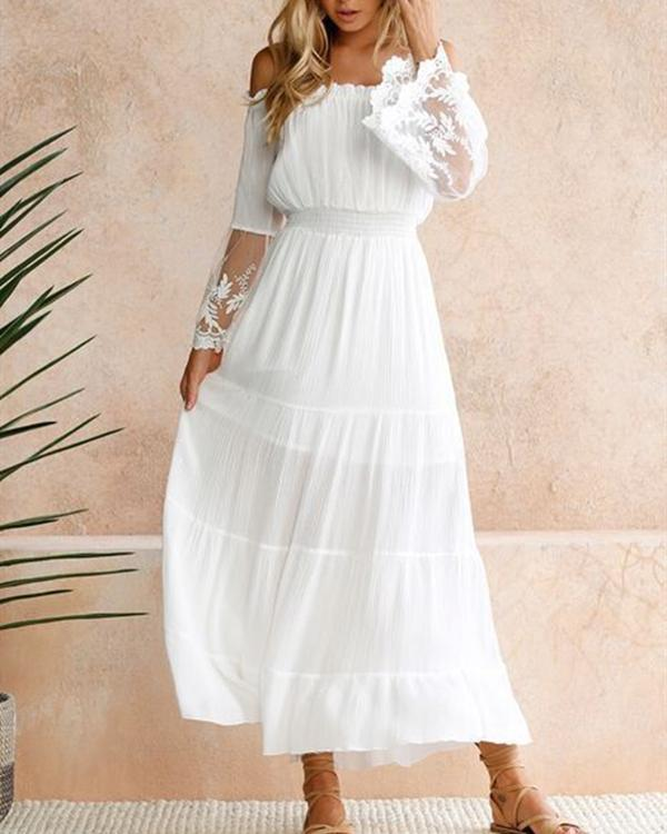 Women Long Sleeve Off Shoulder Elegant Chiffon Solid Lace Dress