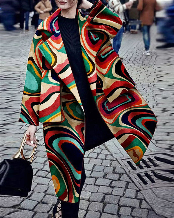 Fashion Turndown Collar Printed Color Long Sleeve Pocket Coat