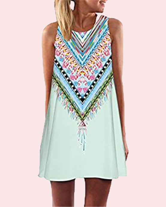 Summer Casual Boho Printed Sleeveless Beach Dress