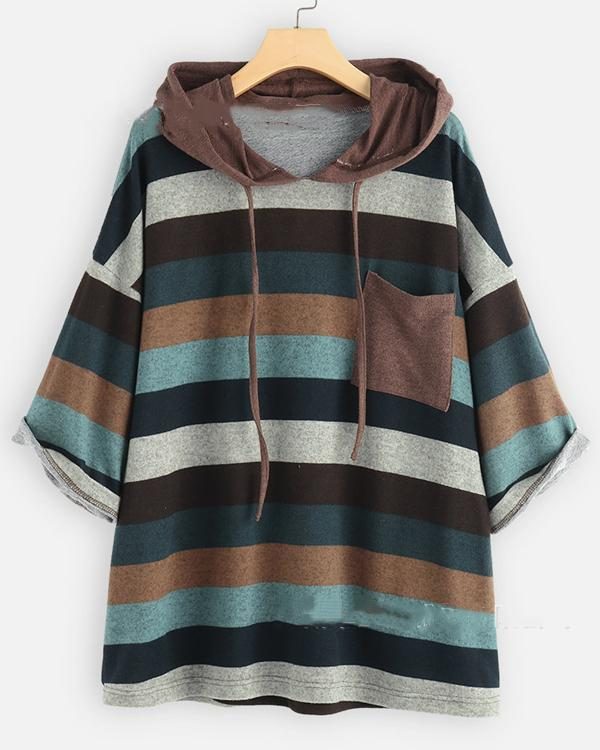 Women's Hoodied 3/4 Sleeve Striped Shift Casual Tops