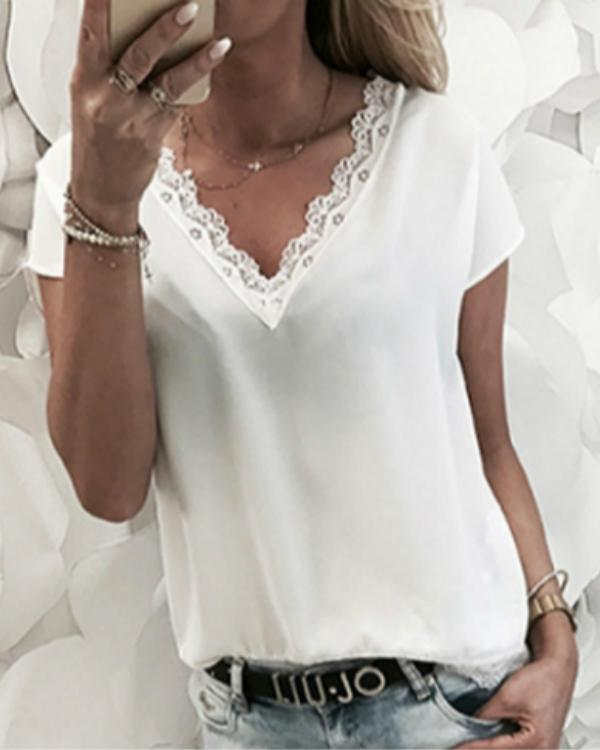 Women Chiffon Solid Color V-neck T-Shirts Tops