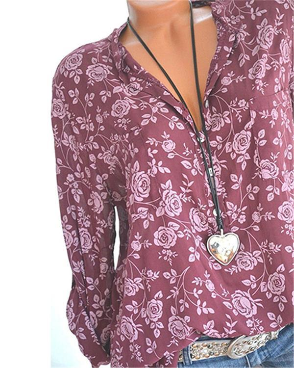 Women Casual V Neck Floral Printed Long Sleeve Shirts & Blouses