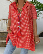 Polka Dots Women Casual Short Sleeve Shirts Daily Tops