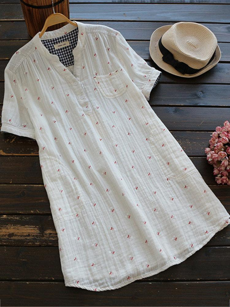 Vintage Printed V-Neck Short Sleeve Women Blouses