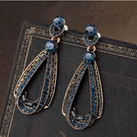Vintage Luxury Earrings Women's Hollow Sapphire Dangle Earrings