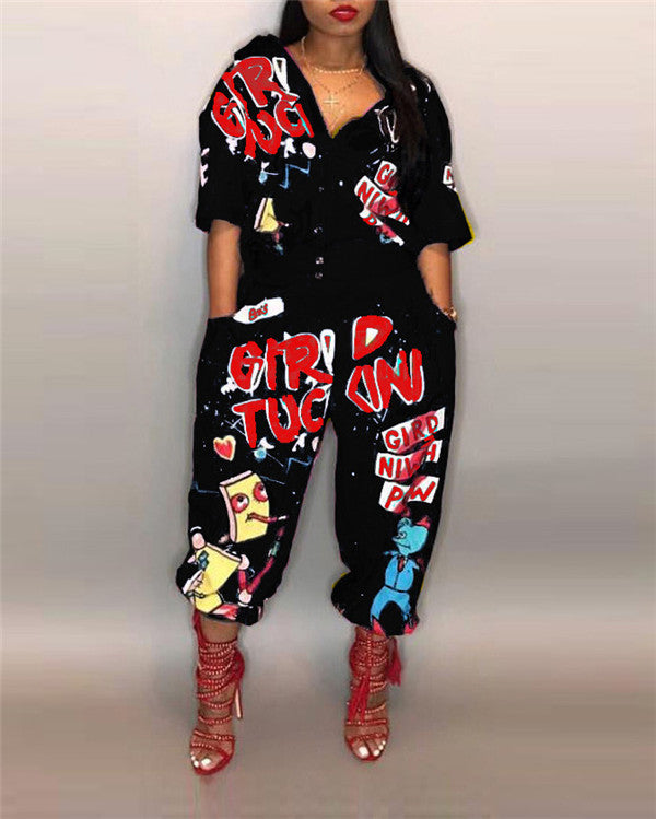 Hip Hop Style Women Jumpsuit Special Letter Turn Down Collar Romper