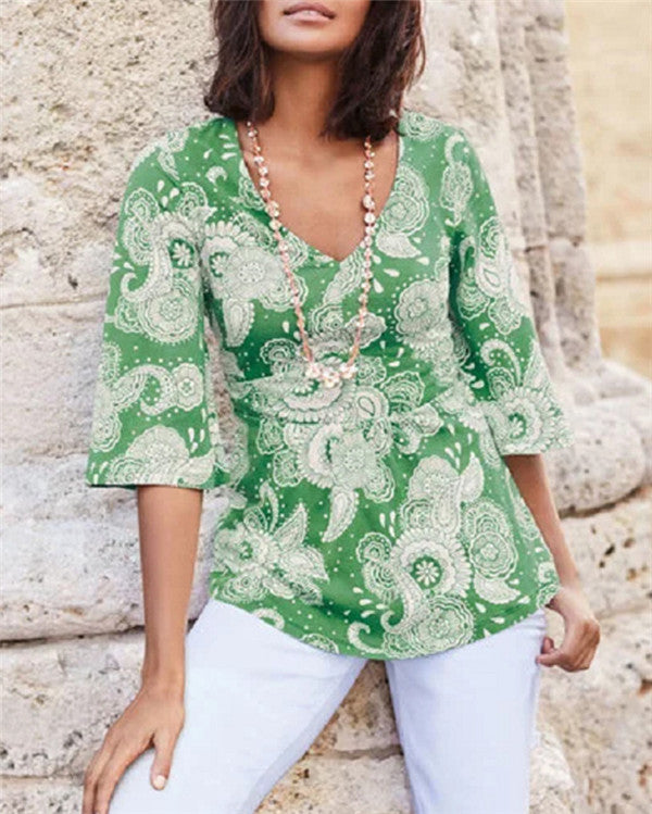 Bohemian Half Sleeve Holiday Printed V-Neck Blouse