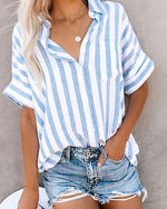 Striped New Casual Lady Daily Shift Tops