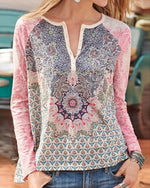 Buttoned Printed Casual V-neck Blouses