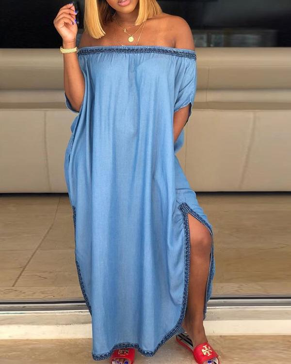 Casual Side Split Floor Length A Line Dress