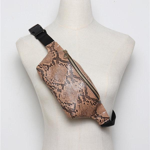 Women Snake Pattern Waist Bag Casual Crossbody Bag