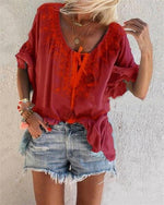 Casual Half Sleeve Floral-Print V Neck Blouses