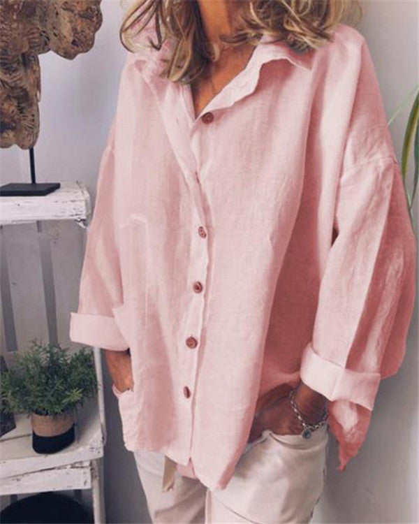 Long Sleeve Stand Collar Summer Solid Women Holiday Blouse