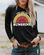 Sunshine Cartoon Printed  Women Tops Holiday Fall Daily Casual Blouse