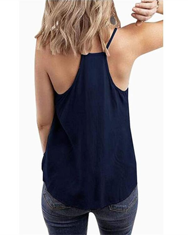 Women Sling V Neck Printed Sleeveless Casual Vests Tops