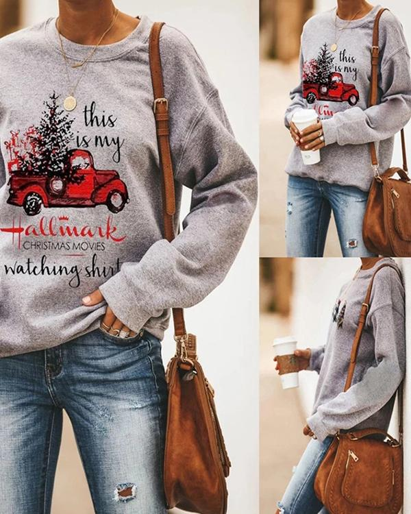 Casual Printed Long Sleeve Pullover